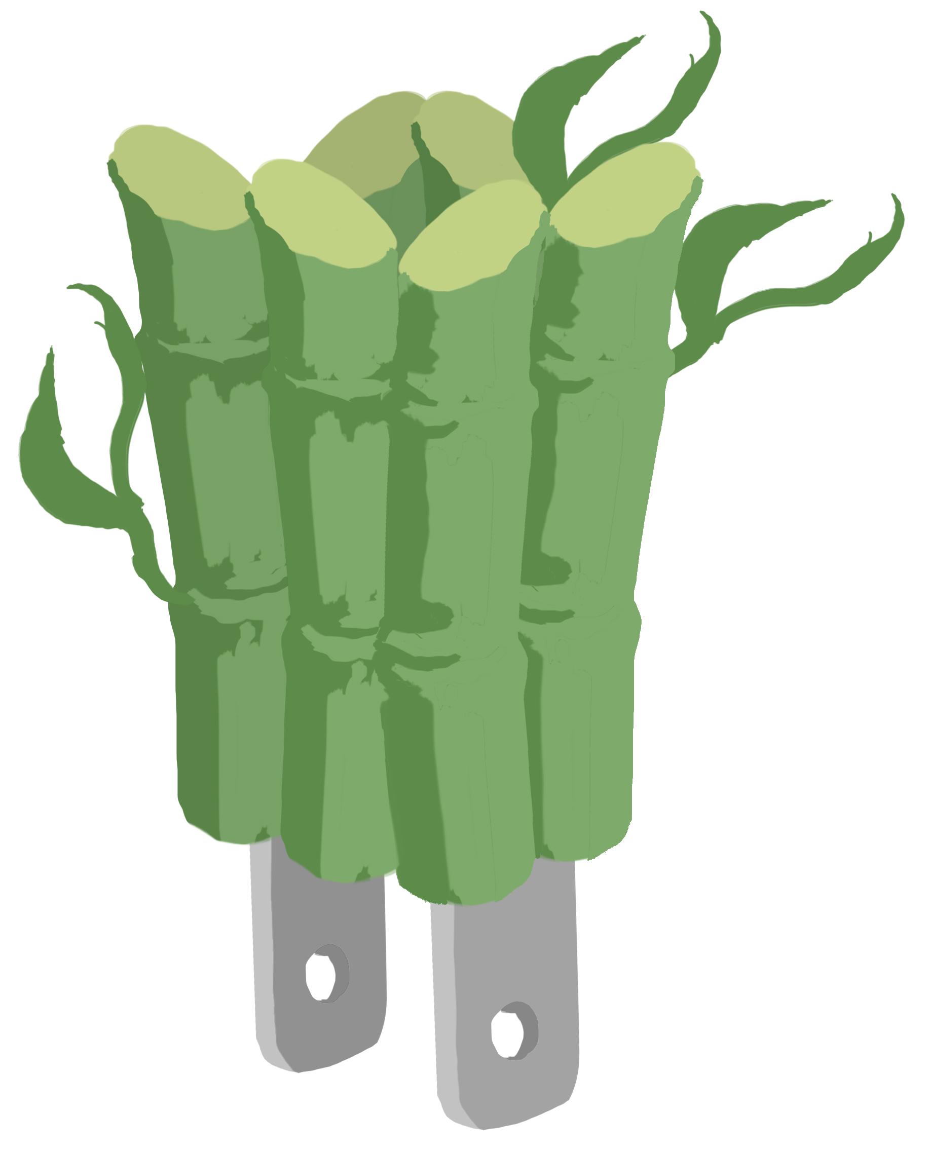 Desenho de feixe de bambu com plugue de energia (Depto. de Estado/D. Thompson)