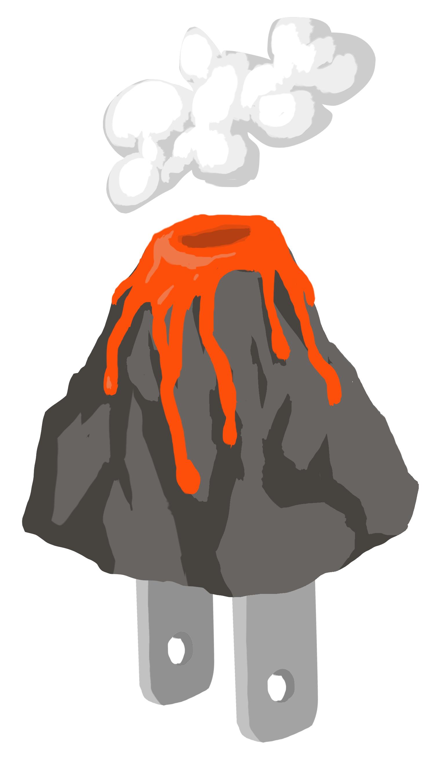 Ilustração de vulcão fumegante com plugue de energia saindo na parte debaixo (Depto. de Estado/D. Thompson)