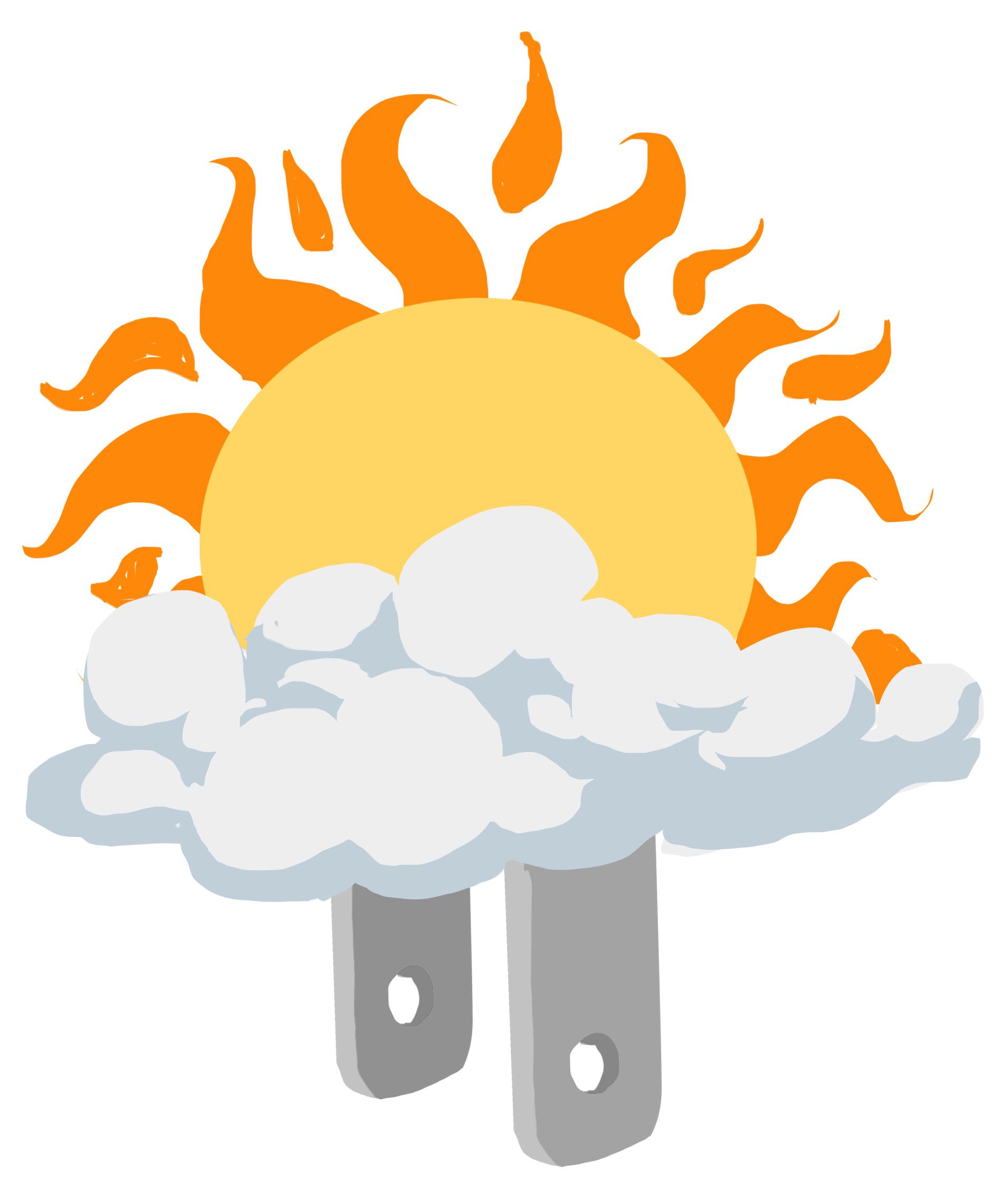 Ilustração de Sol atrás de nuvens com plugue de energia (Depto. de Estado/D. Thompson)