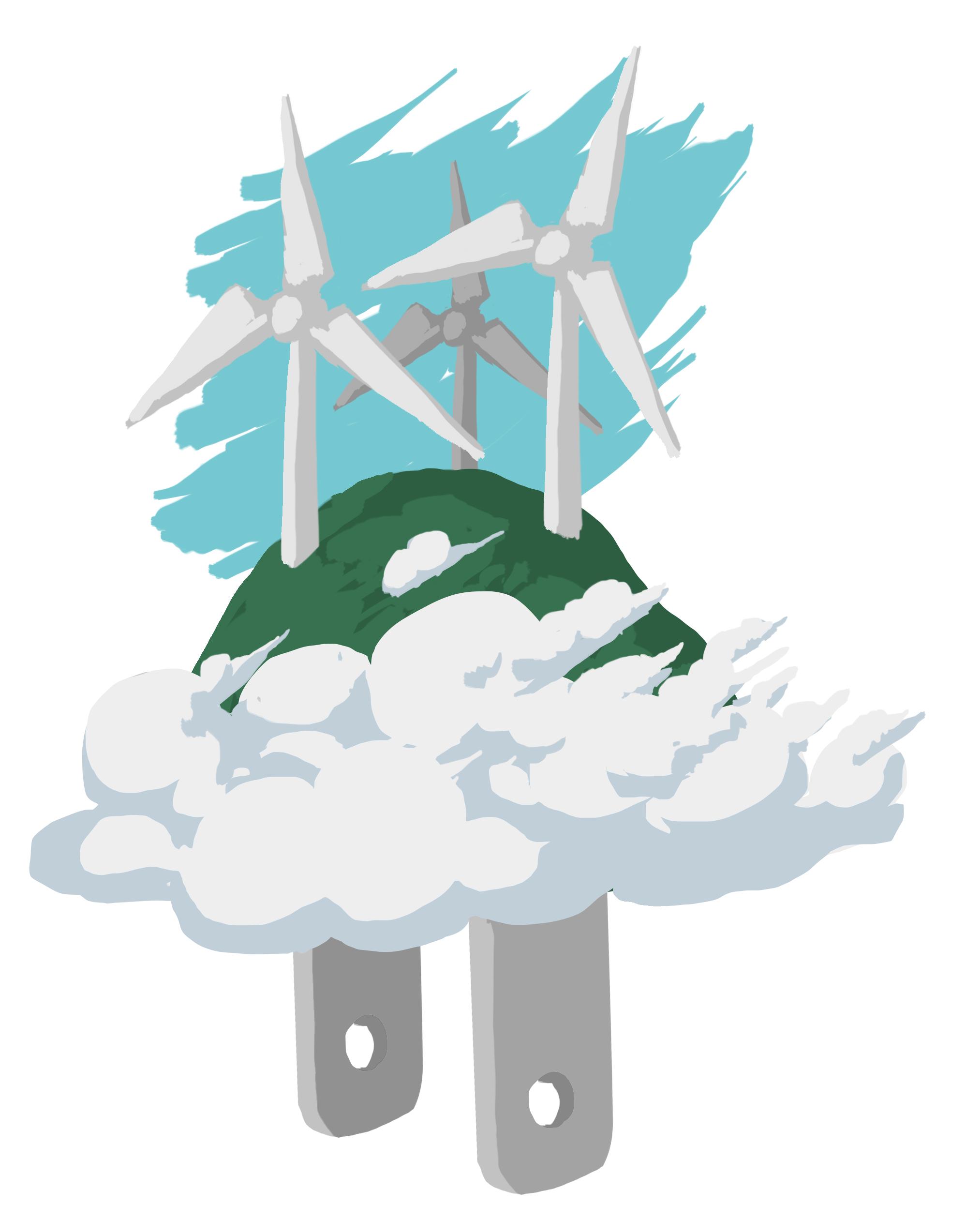 Ilustração de turbinas eólicas com plugue de energia (Depto. de Estado/D. Thompson)