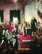 A 1940 painting hanging in the U.S. Capitol portrays George Washington presiding over the 1787 signing of the Constitution in Philadelphia. Courtesy of the Architect of the U.S. Capitol