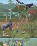 Illustration of endangered species in tropical forests